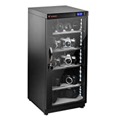 Electronic Dry Cabinet (120L) - Multi-Voltage Power Supply - 2 x Door Lock Keys - 5 x Adjustable Plastic Shelves - Shelf Brackets - 6 x Foam Liners - Limited 5-Year Warranty Energy-efficient, quiet, LED illuminated dry cabinet Thermoelectric (TE) deh...