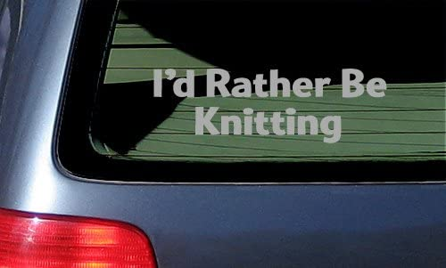 I d Rather Be Knitting Vinyl Sticker Silver product image