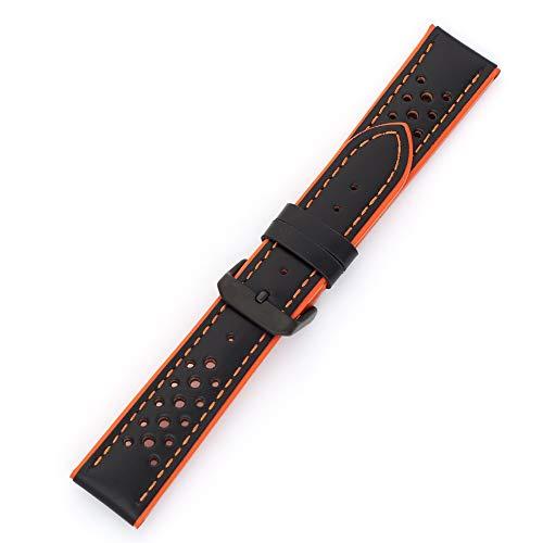 MS-755 Hadley-Roma - Correa de piel de becerro para reloj de hombre, 22 mm, color naranja