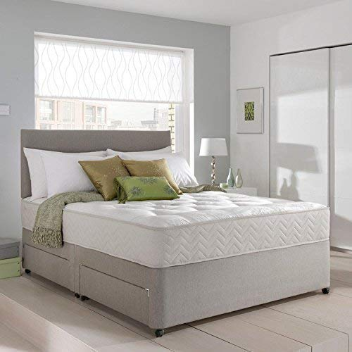 Grey Suede Memory Foam Divan Bed Set With Mattress And Headboard 3ft 4ft 4ft6 5ft 6ft Single Double Small UK King Super King (Double (4.6FT))