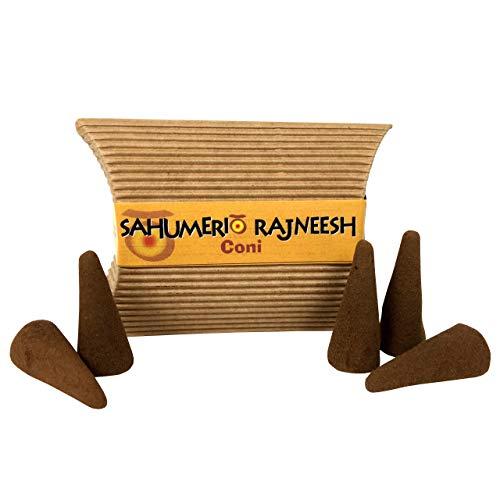 Palo Santo - Conos Sahumerios Rajneesh – Compuesto de palo santo, sándalo, Copal y flores de rosa – Conos perfumados de calidad chamánica – Ideal para yoga y meditación – Paquete de 5 conos