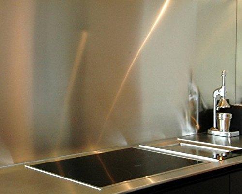 AluCouleur Fond de hotte/Crédence INOX Brossé ép 1.5 mm-12 Tailles - Hauteur 25 cm x (Longueur 140 cm)