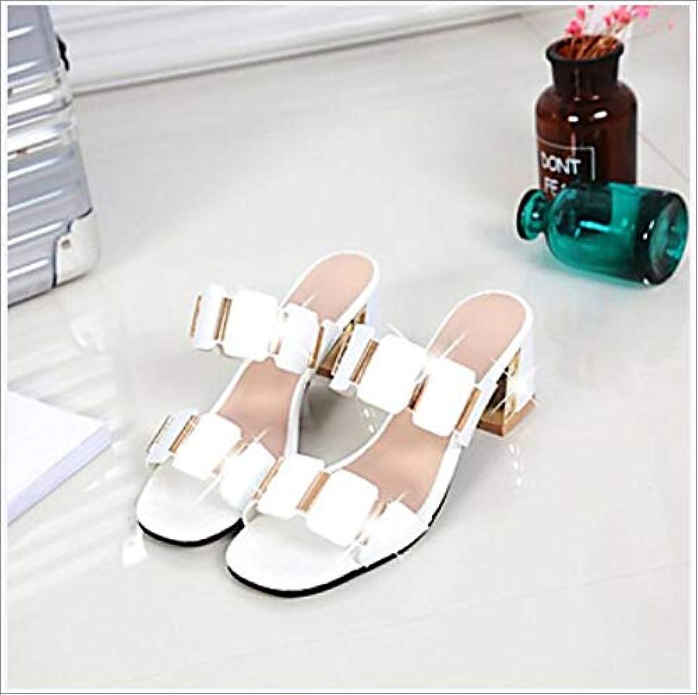 Women's PU(Polyurethane) Spring Summer Comfort Sandals Chunky Heel Open Toe White Black,A,US7.5 EU38 UK5.5 CN38