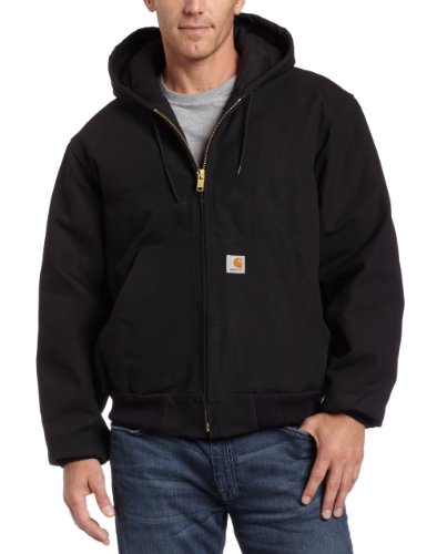 Carhartt Men's Big & Tall Quilted Flannel Lined Duck Active Jacket J140,Black,XXXX-Large