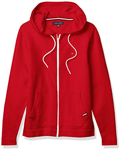 Tommy Hilfiger Men's Full Zip Hooded Sweater, Crimson, X-Large