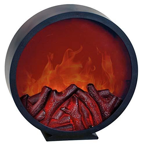 LED Wandkamin Tischkamin Kamin LED elektrisch inklusive Fernbedienung mit realistischer Flammensimulation schwarz aus Kunststoff Ø 32,5 cm