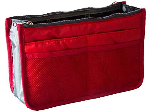 Ducomi Handtaschen-Organiser Damen Tasche mit Großem Innenraum - Taschenorganizer mit Reisetaschen - Erweiterbare Passform Große Innentasche, Doppelgriff (Rot)