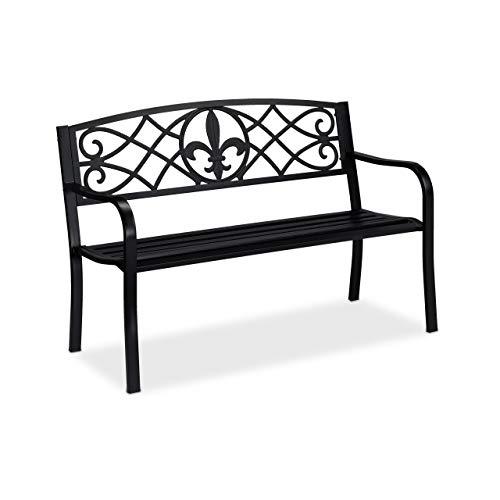 Relaxdays Banc de Jardin, Motifs Fleur de lis, 2 sièges, Protection Anti Rouille, Acier HxlxP: 86 x 127 x 60 cm, Noir