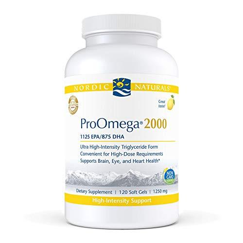Nordic Naturals ProOmega 2000, Lemon Flavor - 2150 mg Omega-3-120 Soft Gels - Ultra High-Potency Fish Oil - EPA & DHA - Promotes Brain, Eye, Heart,& Immune Health - Non-GMO - 60 Servings