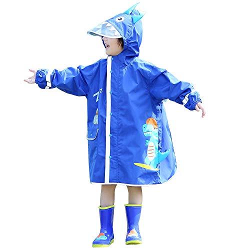 LIVACASA Impermeabile Bambini Poncho Pioggia con Cappello a Tesa Trasparente Strisce Riflettenti Ragazze Ragazzi Giacche per La Pioggia con Tasca Raincoat Impermeabile Blu S