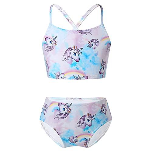 Freebily Costume da Bagno Bambina e Ragazza Due Pezzi Tankini Mare Piscina Estate Bikini Stampato Canotta Crop Top con Pantaloncini Costume Intero Spiaggia Nuoto Swimsuit Viola 4 Anni