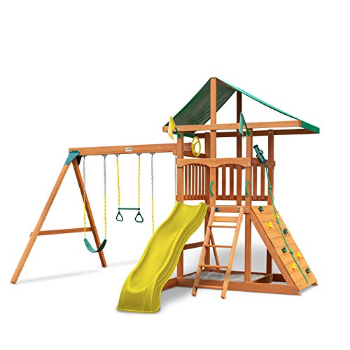 Gorilla Playsets 01-0001-Y Outing Swing Set with Wide Climbing Wall,...