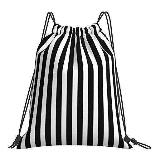 Nicegift Mochila con cordón grande con patrón de rayas blancas y negras,adecuada para viajes deportivos y escalada de montaña