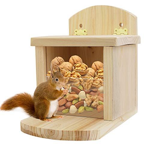 colmanda Eichhörnchen Haus, Wetterfest zum Stellen Futterhaus, Natur Wildtier Herz, Futterautomat zum Eichhörnchen, Hochwertig Massiv-Holz Futterstelle, Überwinterungshilfe aus Haus(Hölzern)
