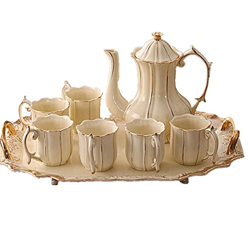 XiYou Tea Coffee Cup Set 8 Pieces Gold Trim Glazed Porcelain Coffee and Tea Service Set with 6 Piece Cups and Teapot Tray Afternoon Tea Drinkware Coffee Set