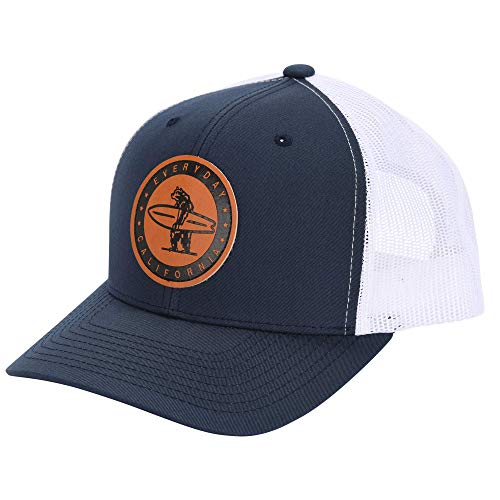 Everyday California 'Marlin' Snapback Navy Blue and White Surf Hat - Baseball Style Cap with Vegan Leather Patch