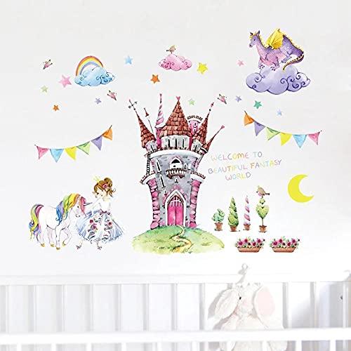Dibujos Animados Cuento De Hadas Mundo Castillo Pegatinas De Pared Hermosa Princesa Unicornio Dragón Nubes Niños Habitación Decoración Chica Dormitorio Pared Calcomanías
