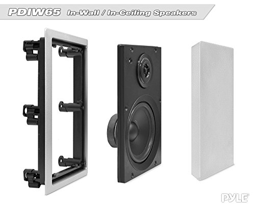 Two Way Stereo Sound Speaker - Dual Professional Audio Speakers System - In Wall / In Ceiling White Mount Flush, 6.5
