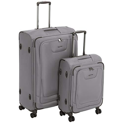 Amazon Basics - Set de dos maletas con ruedas, de calidad superior, expandible, con lados blandos y cierre con candado TSA, (53 cm, 74cm), Gris