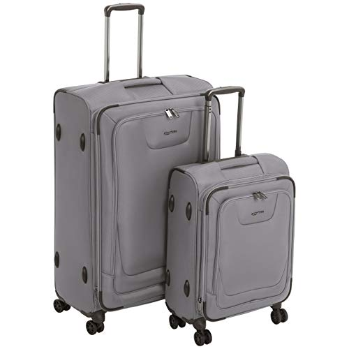 AmazonBasics 2 Piece Expandable Softside Spinner Luggage Suitcase With TSA Lock And Wheels Set - Grey