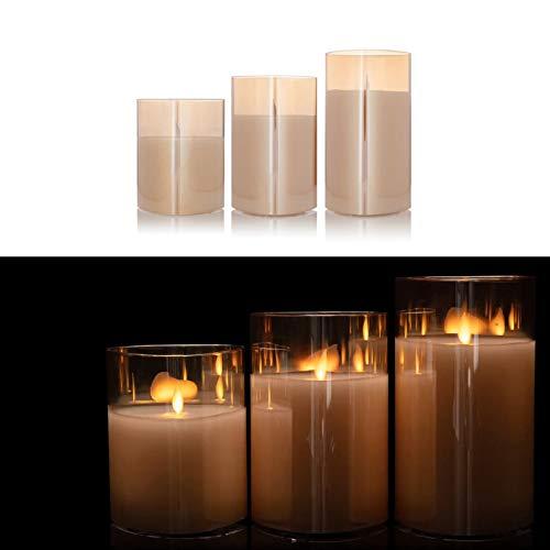 DbKW 3er Set Große LED Kerzen im edlen Glas-Zylinder, verspiegelt, Flackerfunktion, 10, 13 und 15 cm Höhe. Sehr Hochwertig und Elegant (3er Champagner)