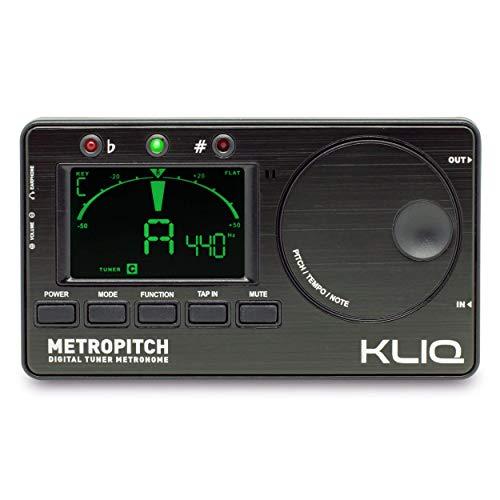 KLIQ MetroPitch Metronom Stimmgerät für alle Instrumente, mit Gitarre, Bass, Violine, Ukulele und chromatischen Stimmmodi, Tongenerator, Tragetasche inklusive, Schwarz