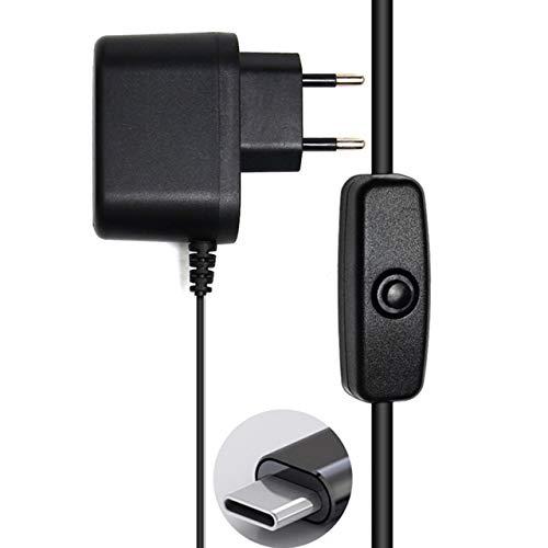 SZXCX para Raspberry Pi 4 Adaptador de Fuente de alimentación Interruptor de Encendido/Apagado USB-C 5V 3.0A EE. UU. UE Enchufe USB-C Tipo-C Fuente de alimentación