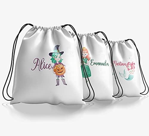 Zainetto personalizzato con nome Sacca scuola e asilo tempo libero sport disegni di fiabe sirenette streghe fatine supereroi unicorni