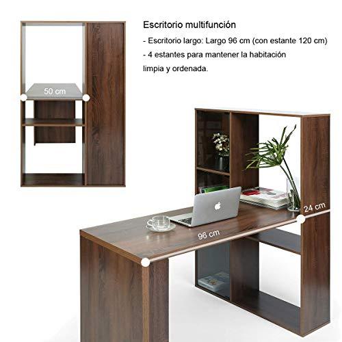 FurnitureR Escritorio de Oficina Totalmente de Madera con Tres gabinetes de Almacenamiento y estantería,…