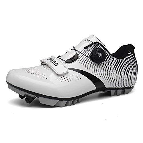 ququer Zapatillas de Bicicleta de montaña de Fibra de Carbono, Zapatillas de Ciclismo SPD Antideslizantes, Transpirables y autoblocantes, Zapatillas de Ciclismo con Hebillas Ajustables y Velcro