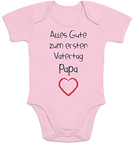 Shirtgeil Alles Gute zum ersten Vatertag Papa Herz - Vater Geschenk Baby Kurzarm Body 0-3 Monate Rosa