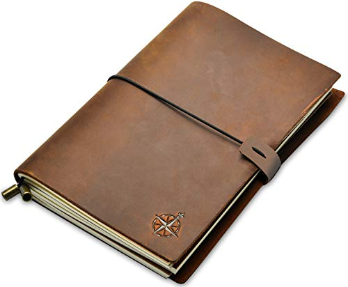 Notizbuch Leder - Nachfüllbares Reisetagebuch für Erwachsene aus handgefertigtem Echtleder, als Tagebuch, notebook, skizzenbuch oder Lebensplaner. Leather Journal mit Blanko Papier in A5-22x15cm