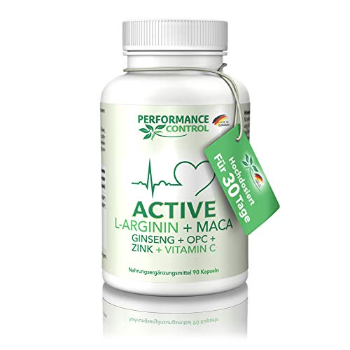Performance Control® ACTIVE - L-Arginin + Maca + Ginseng + OPC + Zink + Vtamin C - Made in Germany - Für 30 Tage