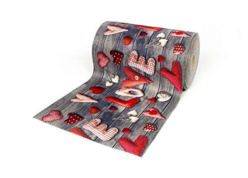BIANCHERIAWEB Tappeto Passatoia Antiscivolo con Stampa Digitale Dis. Love Rosso 50x230 Love Rosso