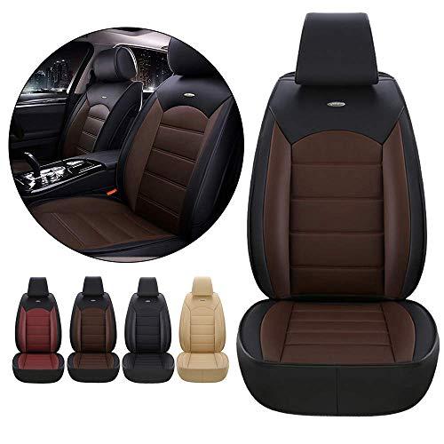 JJYY Coprisedile Anteriore Auto per BMW Serie 1 2 3 4 6 E36 E46 E63 E64 E81 E82 E87 E88 E90 E91 E92 E93 Copertura Protettiva in Pelle 3D Impermeabile e Antipolvere caffè Nero