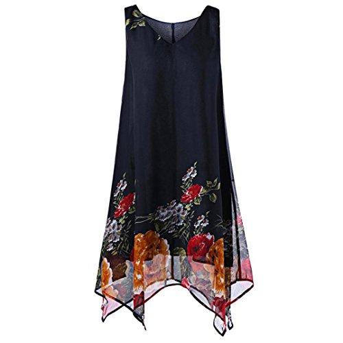 Kobay Damen Ärmellos Knielänge Sommerkleider Übergröße V-Ausschnitt Floral Taschentuch Chiffon-Kleid(XXXX-Large,Marine)