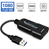 LEADNOVO Audio Video Capture Card, HDMI to USB 3.0 [2020 New Upgrade], Full HD UP to 1080P 60fps Live Video Recorder Game Capture Card for Laptop High Definition Acquisition, Live Broadcasting