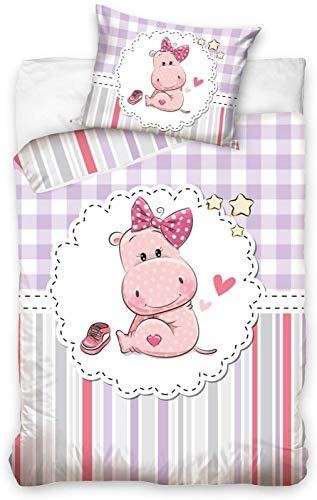 Petit Hippopotamus Bed Linen Set Duvet Cover 100 x 135 cm + Pillowcase 40 x 60 cm 100% Cotton Bed Linen for Barbed or Cot Bed, Baby/Junior