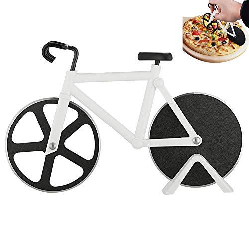 HUYIWEI - Tagliapizza a doppia bicicletta, in acciaio inox, con rivestimento antiaderente, tagliapizza con rotella di taglio affilata e supporto per regali di Natale (bianco)