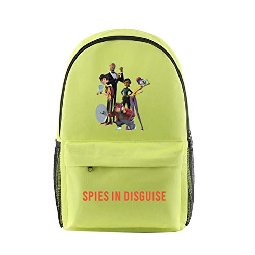 Spies in Disguise Casual Backpack Large Capacity Daypack School Backsack Waterproof Schoolbag for Boys and Girls for Boy and Girl (Color : Green03, Size : 26 X 15 X 44cm)