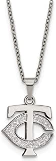Q Gold MLB Minnesota Twins Stainless Steel Minnesota Twins Pendant on Chain with 2 in ext Necklace Size One Size