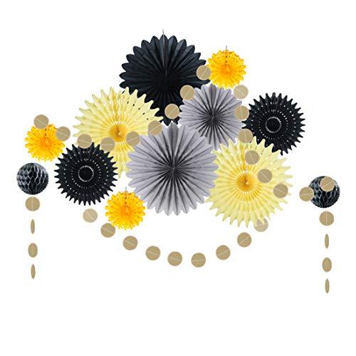 Easy Joy, Decoración Amarilla, Ventilador de Papel para Foto de Fondo Fiesta de Cumpleaños Aniversario de Ducha de Bebé, Gris Negro