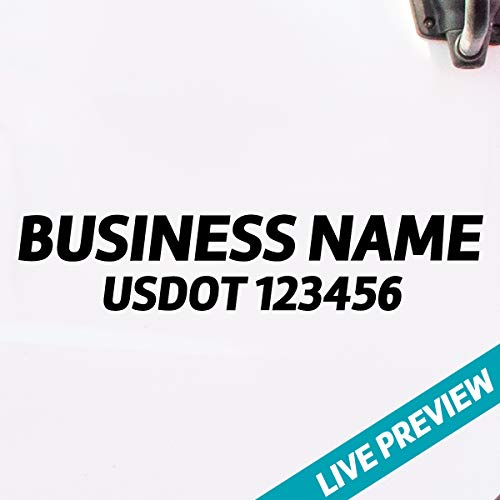Trucking Business Name with USDOT, MC, GVW, KYU, CA or Any Regulation Number Decal Sticker Lettering