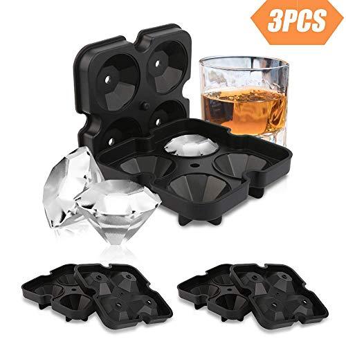 Redmoo Eiswürfelformen aus Silikon, 3 Stück Eiswürfelform Silikon, Eiswürfelbereiter in Diamant Eiswürfel – BPA freie Silikon Eisform mit Deckel Ideal für Whisky, Cocktails, Saft, soda, Süßigkeiten