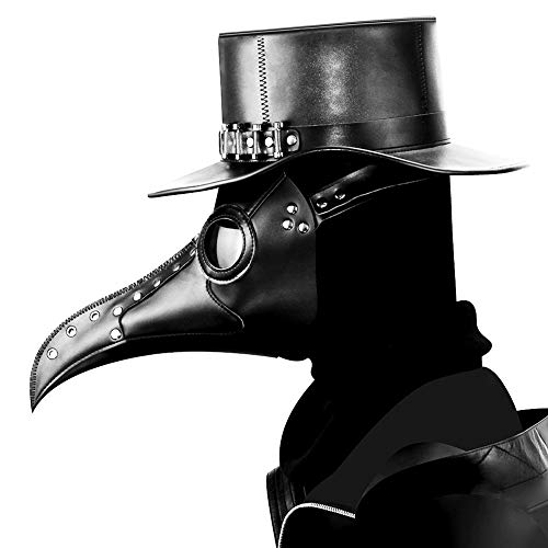 Woworld Leather Plague Doctor Mask Steampunk Bird Mask Long Beak Masquerade Party Costume Mask Black