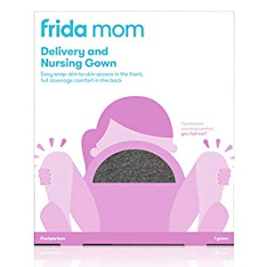 Labor and Delivery Gown by Frida Mom| Easy-Snap, Tagless, Skin-to-Skin Access for Nursing and Full Coverage in The Back