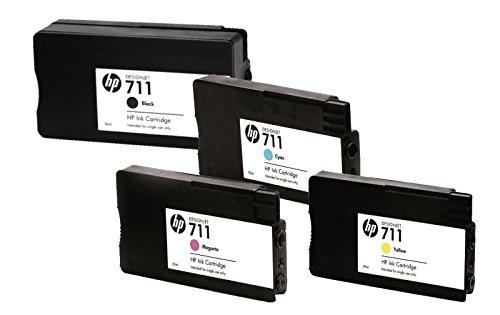 4x Original Patrone HP 711 BK, Cy, Ma, Ye für HP Designjet T 520 24 Inch - Inhalt: Black ca. 80ml / Farben ca. 29m