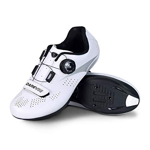 JINFAN Men's Cycling Shoes,Road Bike Lock Shoes Professional Cycling Shoes Road Shoes,White-7UK=41EU=8US