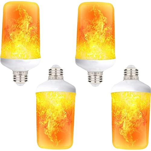 JAKROO Bombillas de Efecto Llama Led, LáMpara Parpadeantes de Tipo Fuego con Sensor Gravedad, para DecoracióN Chimenea Navidad IluminacióN Tienda (2 / 5pack)