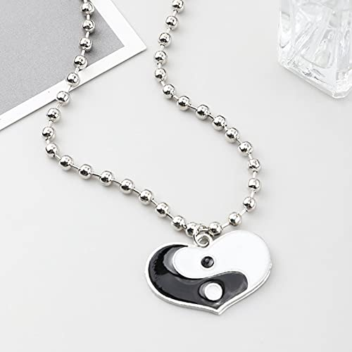 zuxiaoyaya Punk Style Yin Yang Pendant Necklace Heart Yin Yang Necklaces Beads Chain for Friend Couple Unisex Nightclub